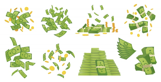 Cartoon money collection. green banknote and gold coins cartoon illustration. flying and rolls bills, stacks of coins. dollar rain