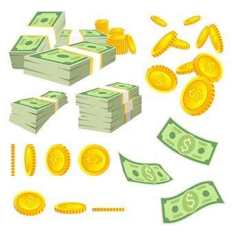 Мультфильм деньги. долларовые банкноты и золотые монеты