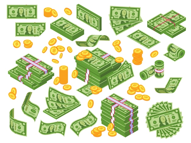 Cartoon money. dollar stacked banknotes and golden coins