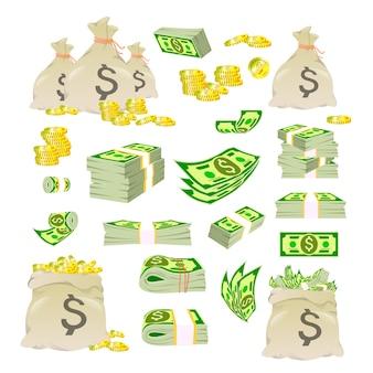 漫画のお金。いろいろなお金。紙幣、紙幣、金貨の束での梱包。