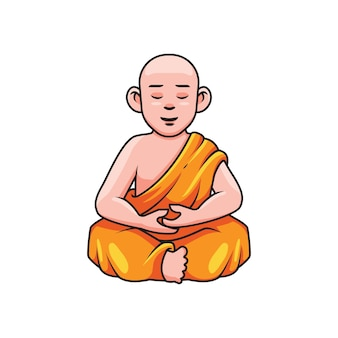 Cartoon monk meditating mascot