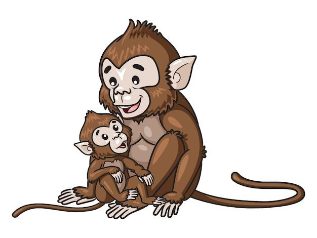 Мультипликационная обезьяна и ребенок