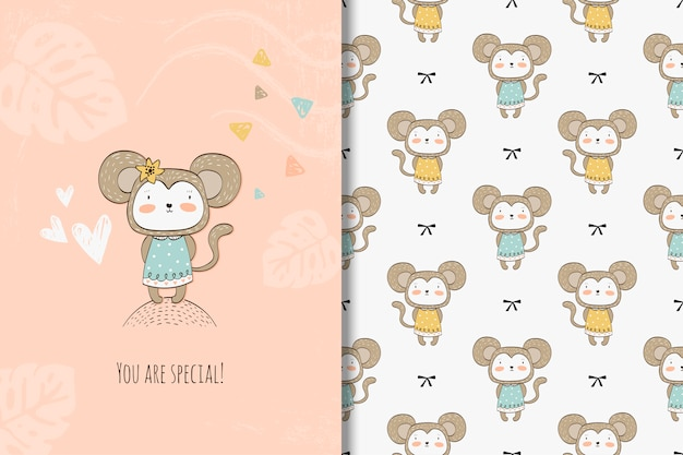Cartoon monkey card and seamless pattern