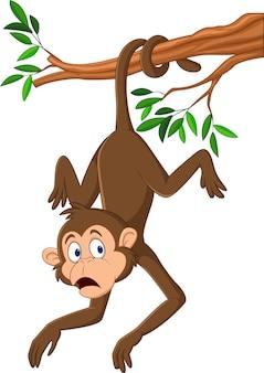 Мультяшная обезьяна, висящая на ветке дерева с хвостом