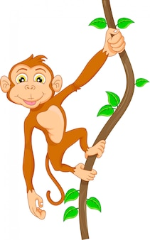 Cartoon monkey hanging in tree