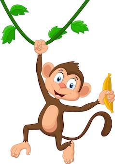 漫画の猿がぶら下がっている