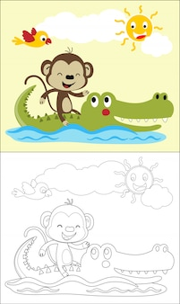 Cartoon of monkey ride on crocodile in river at summer