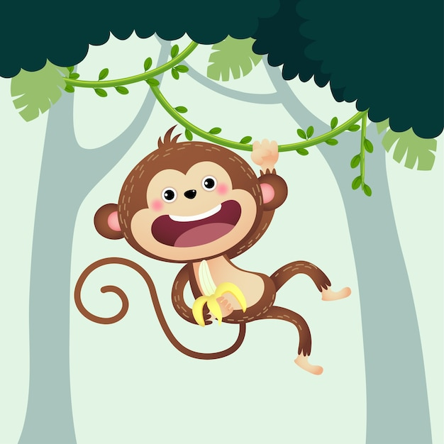 Cartoon monkey with a banana hanging from liana in the jungle.