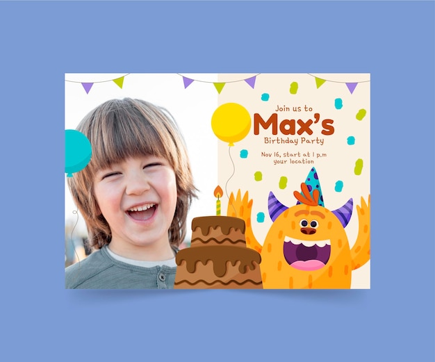 Modello dell'invito di compleanno del mostro del fumetto con la foto