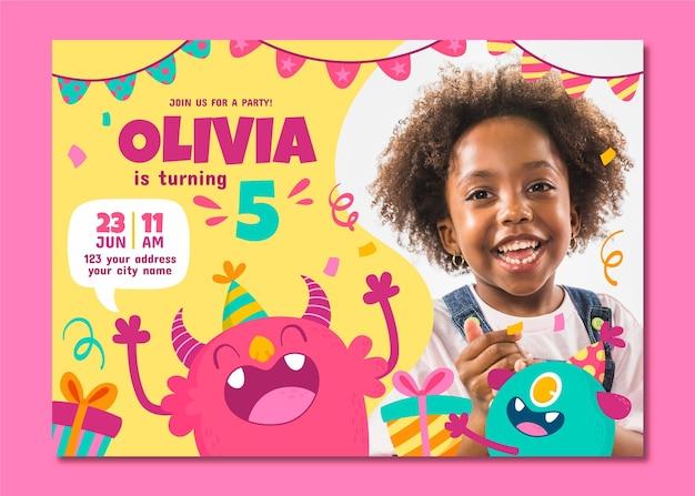 Cartoon monster birthday invitation template with photo