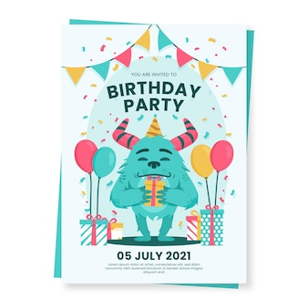 만화 괴물 생일 초대장 서식 파일