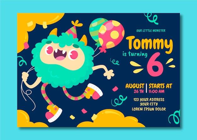 Cartoon monster birthday invitation template