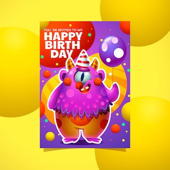 Шаблон приглашения на день рождения мультяшного монстра