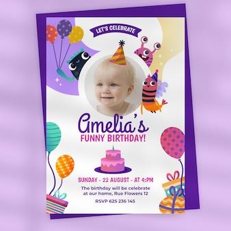 Cartoon monster birthday invitation with photo