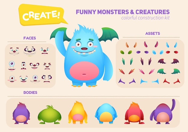 Cartoon monster creation construction kit