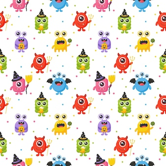 Cartoon monster cute happy monsters halloween seamless pattern on white background