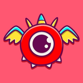 Cartoon monster doodle isolated on pink