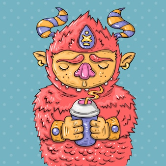 Cartoon monster drinking from a cup. cartoon illustration in comic trendy style.