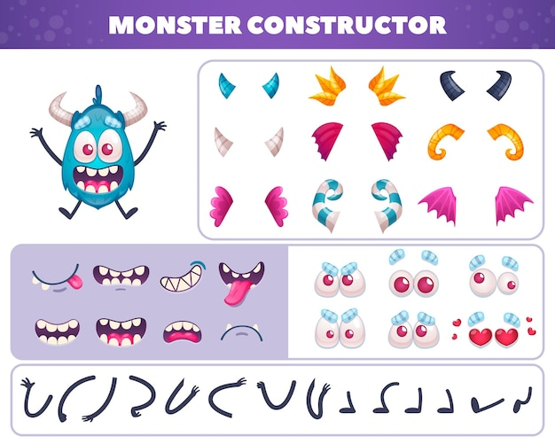 Cartoon monster emoticons kit of isolated elements for creating funny doodle character with eyes and mouths