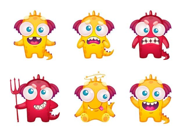 Набор смайликов мультяшных монстров с отдельными персонажами забавных хвостатых зверей