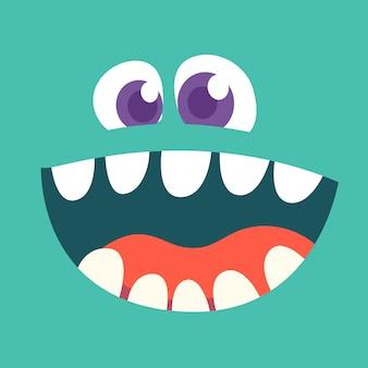 Cartoon monster face avatar.  halloween monster