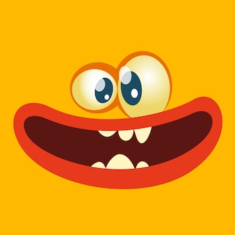 Cartoon monster face avatar.  halloween monster