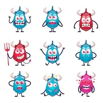 Mostro del fumetto impostato con personaggi isolati del mostro di stile doodle