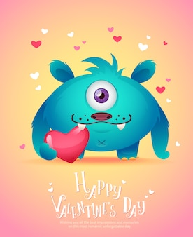 Cartoon monster with a heart valentine´s card