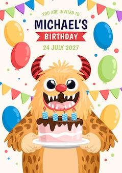 Cartoon monsters birthday invitation template