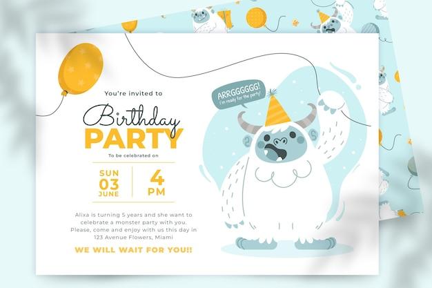 Cartoon monsters birthday invitation