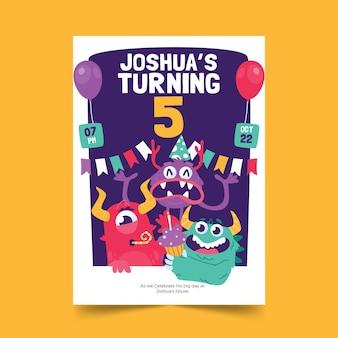 Invito di compleanno di mostri dei cartoni animati