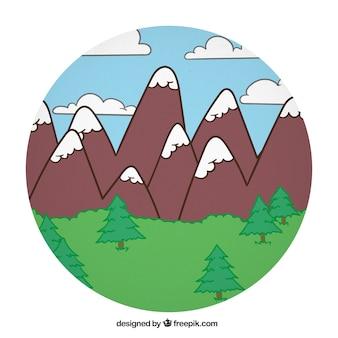 Cartoon montains lanscape