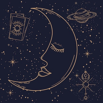 Cartoon moon and astrological icons