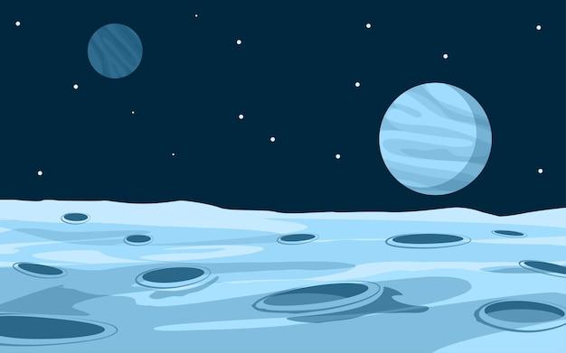 Иллюстрация поверхности луны шаржа с планетой и звездами