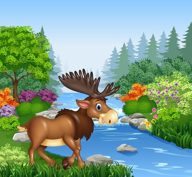 Cartoon moose in beautiful river in forest