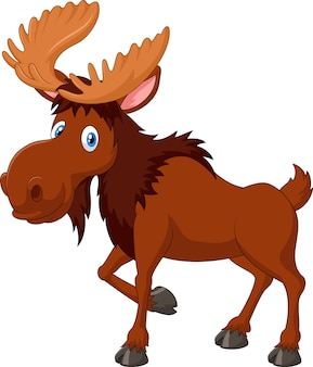Cartoon moose mascot with smiley face