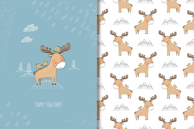 Cartoon moose with birds
