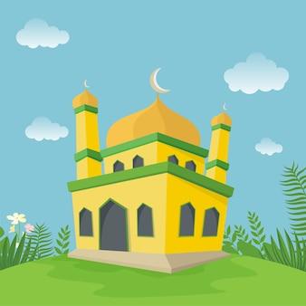 緑の草と漫画のモスクのイラスト