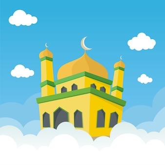 구름 일러스트와 함께 만화 모스크