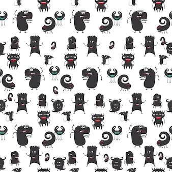 Cartoon moster silhouette seamless pattern