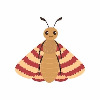 漫画の蛾の昆虫。黒カブトムシ。白い背景で隔離のベクトルイラスト。