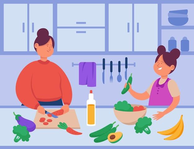 漫画の母と娘がキッチンで一緒に料理