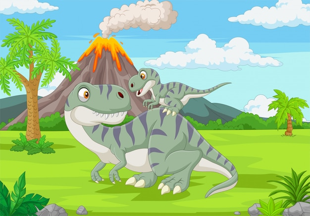 Cartoon mother and baby dinosaur in the jungle