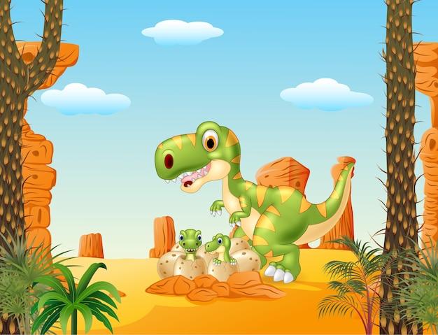 Cartoon mother and baby dinosaur
