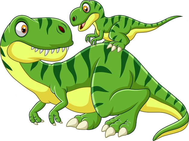 Cartoon mother and baby dinosaur