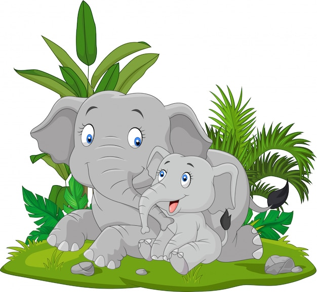 Cartoon mother and baby elephant in the grass