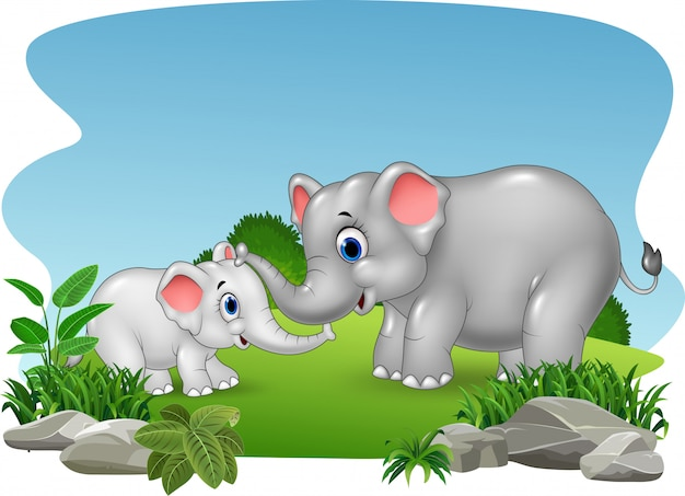 Cartoon mother and baby elephant in the jungle