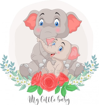 Cartoon mother and baby elephant sitting with flowers background