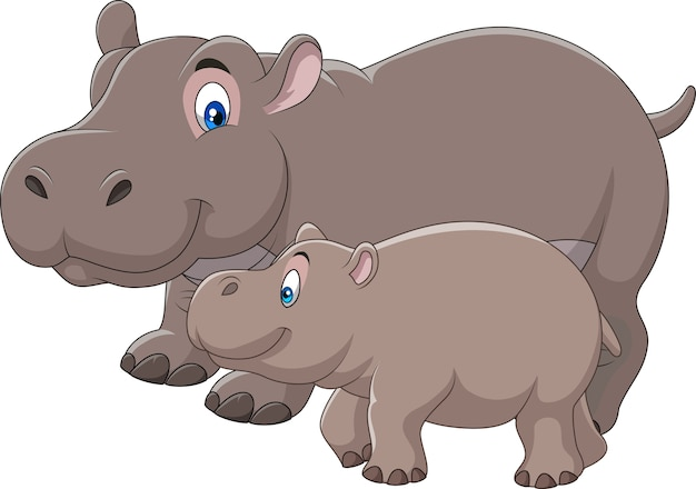 Cartoon mother and baby hippo