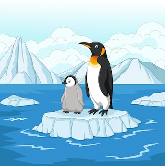 Cartoon mother and baby penguin on ice floe